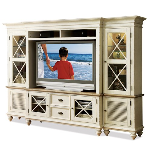 Riverside Furniture Coventry Two Tone Entertainment Wall System With Framed Glass Doors Dunk