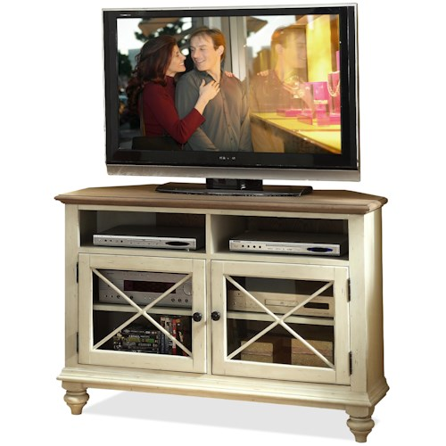 Riverside Furniture Coventry Two Tone 2 Door Corner TV Console With Shelves Belfort
