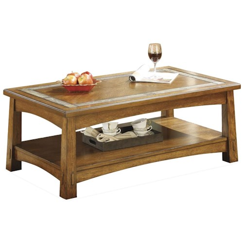 Riverside Furniture Craftsman Home Rectangular Coffee Table With A Slate Tile Boarder Value