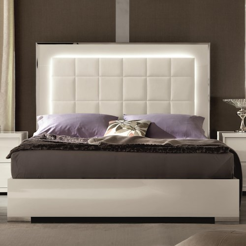 Alf Italia Imperia Queen Uph Bed W Led Lights And Fb