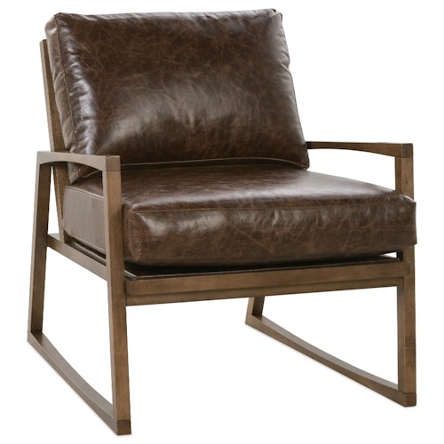 Rowe beckett modern wood frame chair belfort furniture - Modern upholstered living room chairs ...