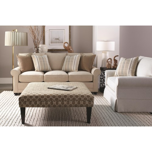 Transitional Style Living Room Furniture: Rowe My Style Transitional Stationary Sofa With Rolled