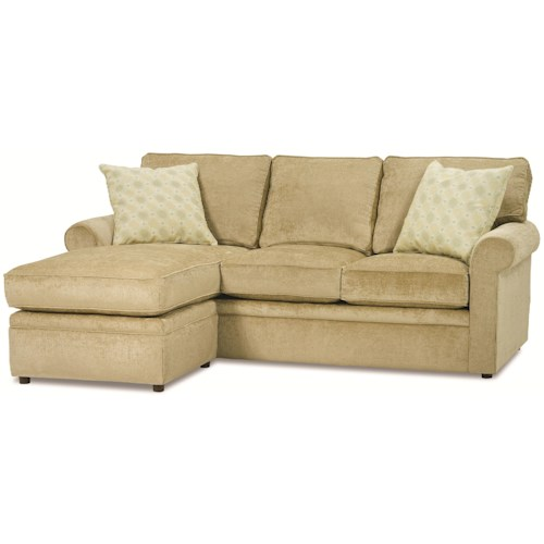 Rowe dalton sofa with reversible storage chaise ottoman for Broyhill chaise