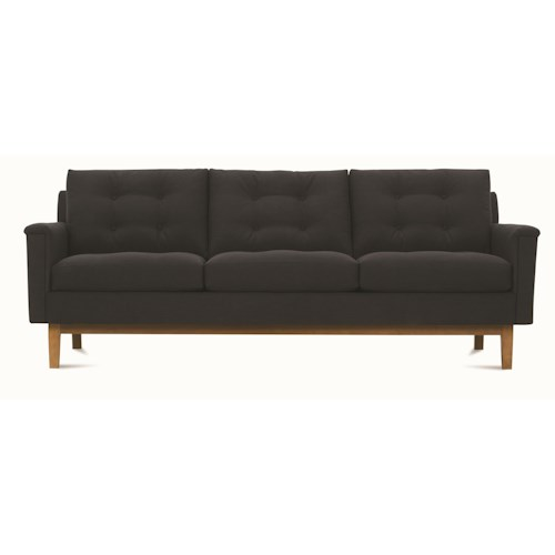 Uw Pillow Fort Modern : Rowe Ethan Mid-Century Modern Sofa with Tufted Back Pillows - Belfort Furniture - Sofa