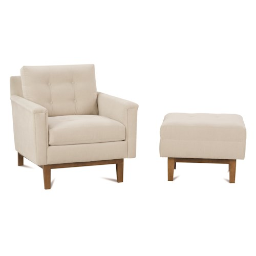 Rowe ethan mid century modern chair and ottoman set for Mid century modern furniture nashville