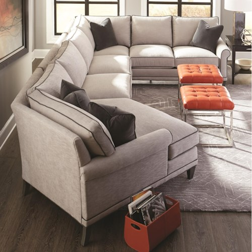 Rowe my style i ii transitional sectional sofa with for Sectional sofa bed ontario