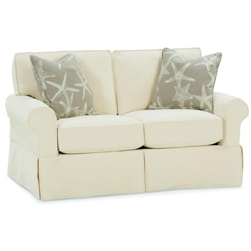 Rowe nantucket transitional loveseat sprintz furniture for Boca chaise pillow