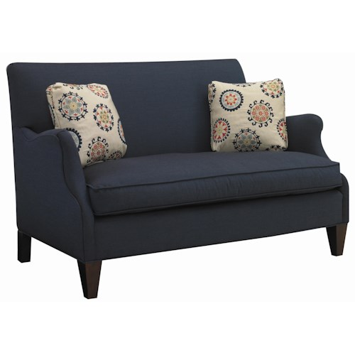 Sam moore aunt jane contemporary settee with romantic for Traditional settees living room furniture