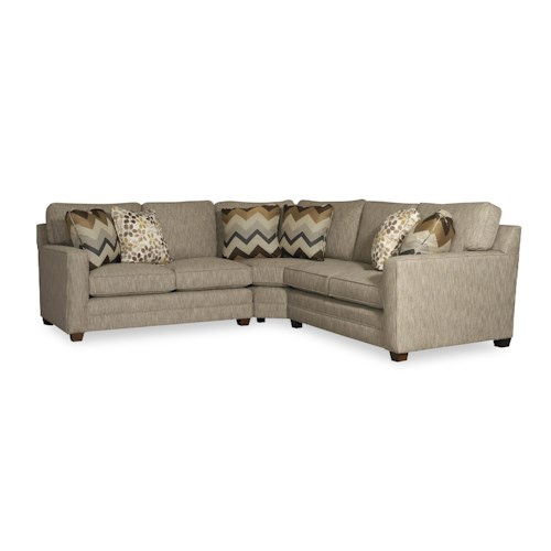 Sam moore ricky three piece sectional sofa baer 39 s for Boca chaise pillow