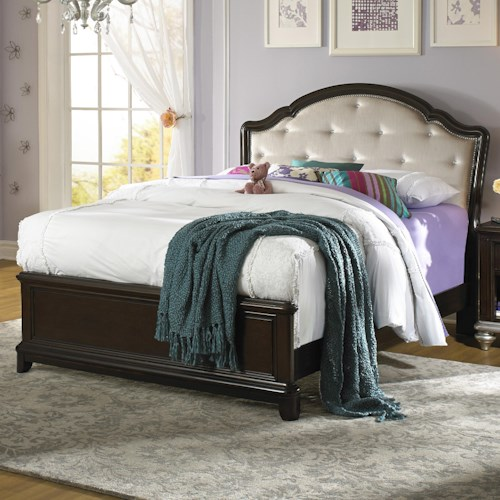 Samuel lawrence glamour twin bed w rhinestone tufted for Bedroom furniture indianapolis