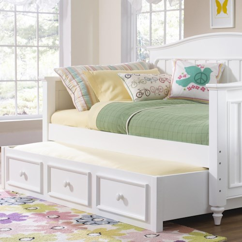 Samuel Lawrence Summertime Youth White Day Bed With Trundle Storage Godby Home Furnishings