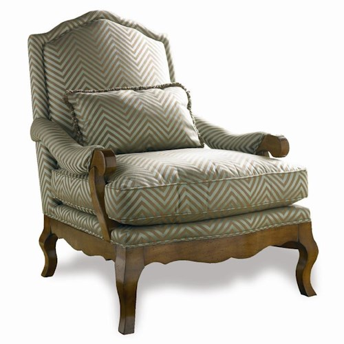 Sherrill Traditional French Loung Chair With Carved Wood