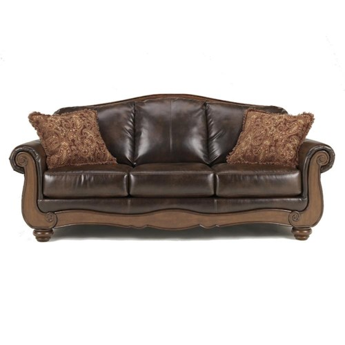 Signature design by ashley barcelona antique traditional camel back sofa ivan smith Camel back sofa