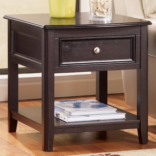 Signature Design By Ashley Carlyle Rectangular End Table With Drawer And Bottom Shelf Wayside