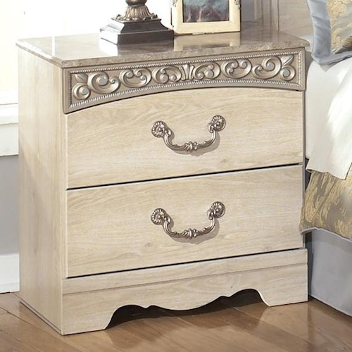 Signature Design By Ashley Catalina Two Drawer Nightstand Value City Furniture Night Stand