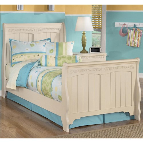 Signature design by ashley furniture cottage retreat twin sleigh bed sam 39 s appliance for Cottage retreat bedroom set