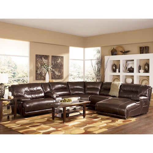 Signature Design By Ashley Exhilaration Chocolate Contemporary Leather Match Sectional Sofa