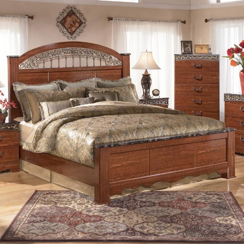 Signature Design By Ashley Brookfield King Poster Bed With Ornate Scrolled Insert Rotmans