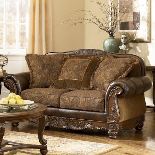 signature design by ashley fresco durablend antique loveseat royal