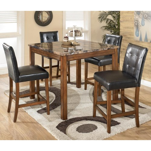 Signature Design By Ashley Theo 5 Piece Square Counter Height Table Set With Bar Stools Godby