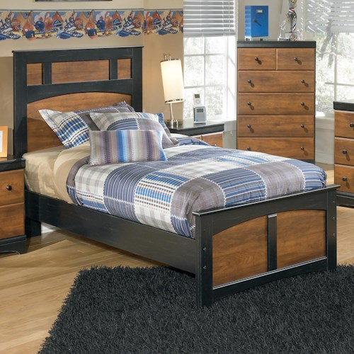 Ashley Signature Design Aimwell Two Tone Finish Twin Platform Bed Dunk Bright Furniture
