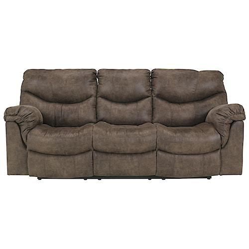 Signature Design By Ashley Alzena Gunsmoke Reclining Sofa Royal Furniture Reclining Sofa