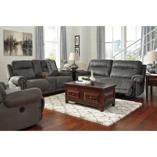 Signature Design By Ashley Austere Gray Reclining Living Room Group Waysi