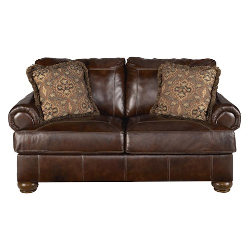 Ashley signature design axiom walnut traditional for Traditional loveseat