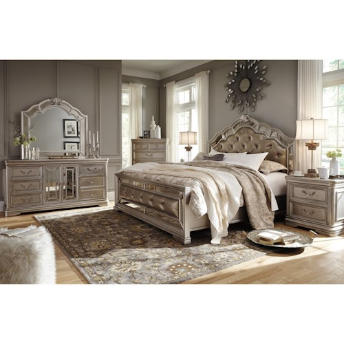 Signature design by ashley birlanny queen bedroom group for Bedroom furniture groups