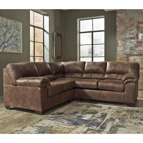Ashley signature design bladen 2 piece faux leather for 2 piece sectional sofa ashley