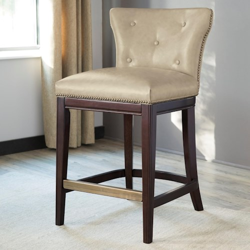 Signature Design By Ashley Canidelli Beige Upholstered Counter Height Stool With Low Back Ivan