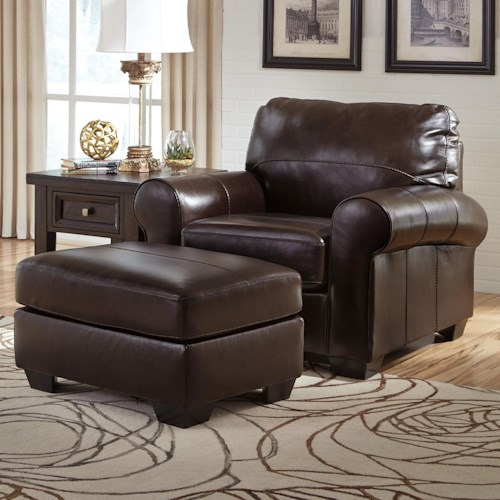 Signature Design By Ashley Canterelli Leather Match Chair Ottoman Wayside Furniture Chair