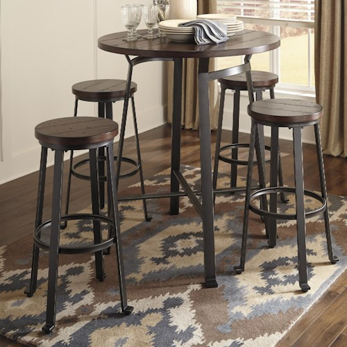 Round Table With Stools: Ashley Signature Design Challiman 5-Piece Round Bar Table