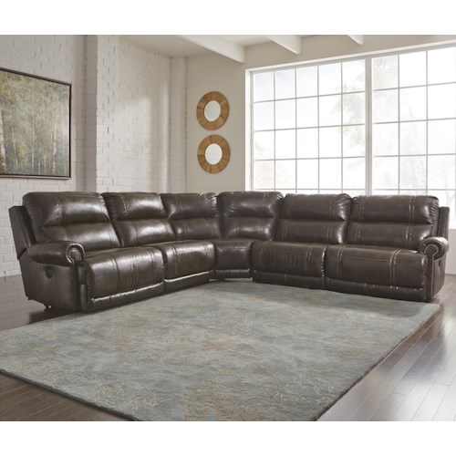 Signature design by ashley dak durablendr 5 piece for 5 piece reclining sectional sofa