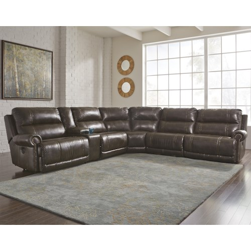 Signature Design By Ashley Dak Durablend 6 Piece Reclining Sectional With Storage Console