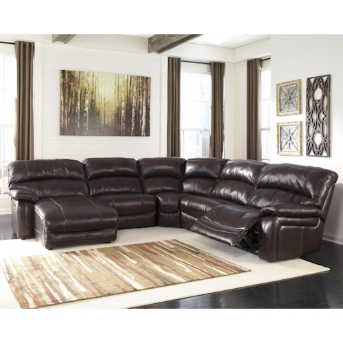 Signature Design By Ashley Damacio Dark Brown Reclining Sectional With Left Press Back Chaise