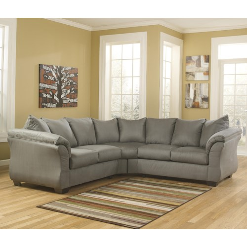Signature Design By Ashley Darcy Cobblestone Contemporary Sectional Sofa With Sweeping Pillow