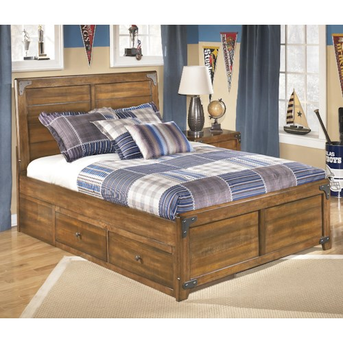 Ashley Signature Design Delburne Full Platform Pedestal Bed With Storage Dunk Bright