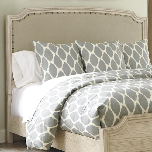 Signature design by ashley demarlos queen upholstered panel headboard with nailhead trim for Demarlos upholstered panel bedroom set