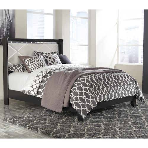 Ashley signature design fancee queen panel bed with faux crystals dunk bright furniture - Ashley furniture platform beds ...