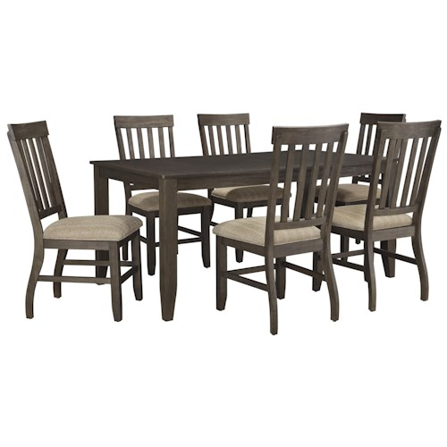Design By Ashley Dresbar 7 Piece Rectangular Dining Table Set
