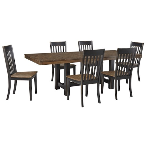 Furniture Delightful Two Tone Casual Back Dining Room Set Round Table ...