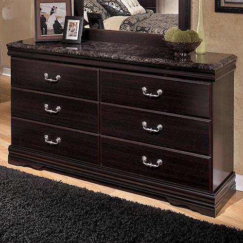 Ashley Signature Design Esmarelda 6 Drawer Dresser With Faux Marble Top Dunk Bright