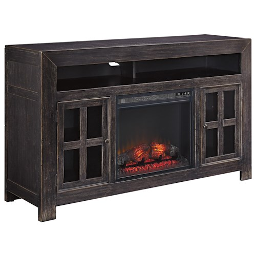 signature design by ashley gavelston distressed black large tv stand with electric fireplace. Black Bedroom Furniture Sets. Home Design Ideas