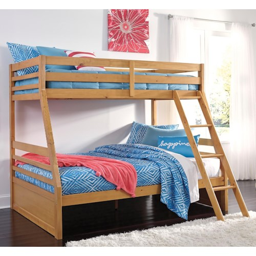 Signature Design By Ashley Hallytown Solid Pine Twin Full Bunk Bed Prime Brothers Furniture