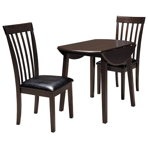 Ashley signature design hammis 3 piece round drop leaf for 3 piece dining room table