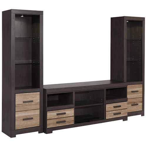 Ashley Signature Design Harlinton Large Tv Stand 2 Tall Piers Dunk Bright Furniture Wall