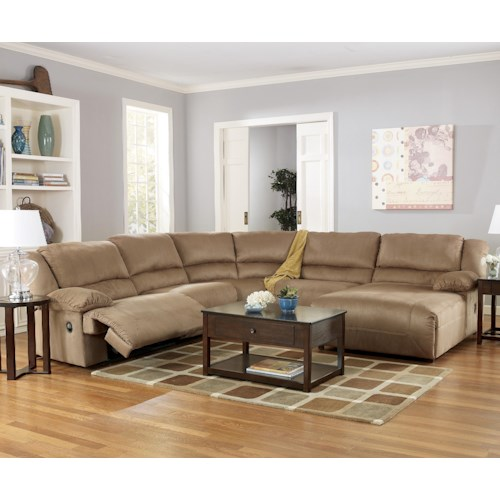 Signature design by ashley hogan mocha 5 piece motion for 5 piece sectional sofa with chaise