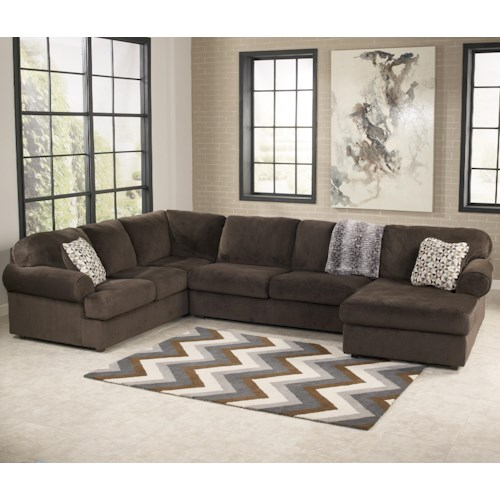 Signature design by ashley jessa place chocolate casual for Ashley furniture leather sectional with chaise