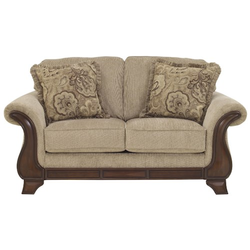 Signature Design By Ashley Lanett Loveseat With Exposed Wood Accents Rotmans Love Seat